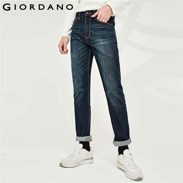 Giordano męskie dżinsy dżinsy elastyczne Mid Rise wąskie stopy jakości bawełniane dżinsy Pantalones Whiskering odzież dżinsowa