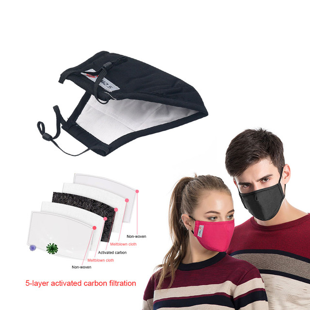 PM2.5 Mouth Mask Anti Pollution/Dust/Flu Cotton Masks Activated Carton Filter Windproof Mouth Muffle Bacteria Face Masks Care 5