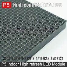 Smd2121 rgb interno 1/16 varredura p5 módulo led 320x160mm 64x32 pixels hd vídeo parede display painel 32x16cm