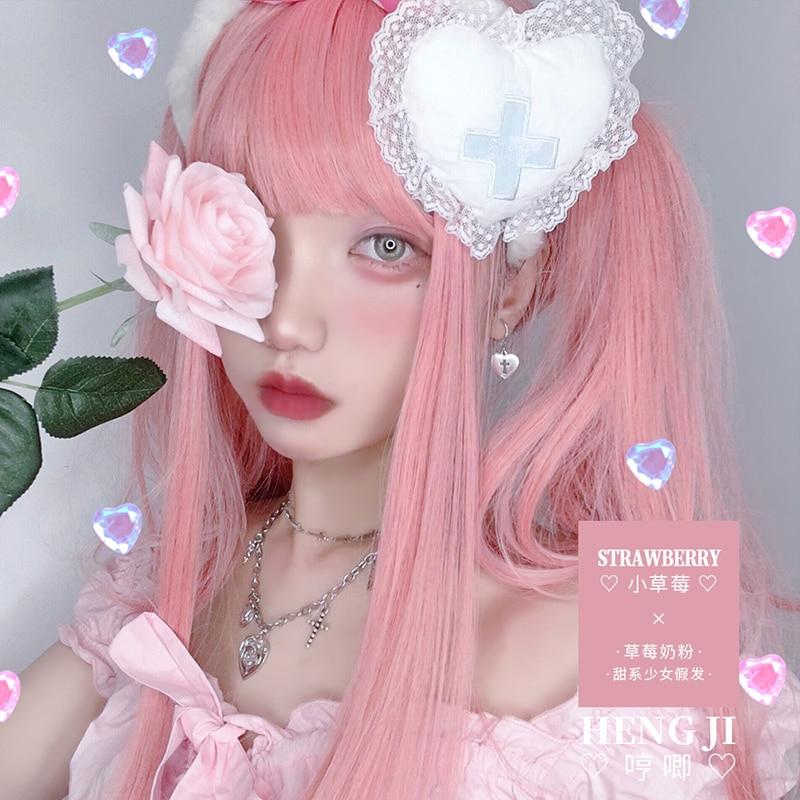 Uwowo longo cabelo reto rosa lolita peruca cosplay resistente ao calor do cabelo sintético anime festa perucas colorido rosa perucaFantasia de Anime   -