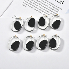 High-grade black transparent acrylic elliptical belt hanging DIY jewelry material earrings for hand-made accessories