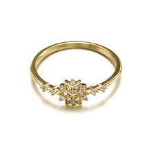 Rose gold zircon ring woman magic beautiful accessories classic fashion 16K gold snowflake birthday engagement gift