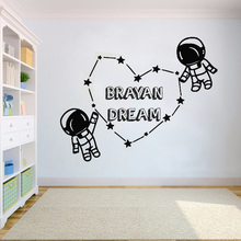 Space Custom name Wall sticker for boy room Outer space wall decals Rocket Ship Astronaut Decal Kids Bedroom home decor HY757 custom name wall sticker never grow up vinyl cartoon wall art decals pirates ship decal hook kids wall decal bedroom decor hy750