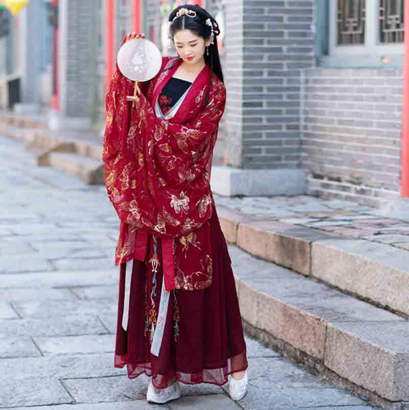 Women Hanfu Red Deluxe Overcoat Ancient Chinese Vintage Fancy Dress Female Halloween Cosplay Costume For Women Plus Size XL