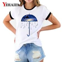 Women T Shirts Nebula Galaxy Umbrella 3D Print Graphic Tees Summer Short Sleeve Casual White T-Shirt Simple Style Tops