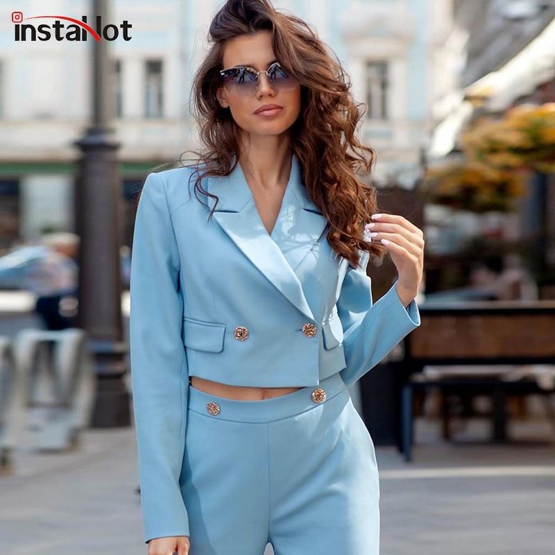 InstaHot Elegant Short Suit Casaul Blazer 2019 Women Office Lady Notch Collar Highstreet Blazer Workwear Outerwear Female in Blazers from Women 39 s Clothing