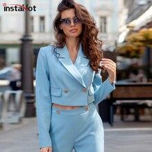 купить InstaHot Elegant Short Suit Casaul Blazer 2019 Women Office Lady Notch Collar Highstreet Blazer Workwear Outerwear Female по цене 1023.86 рублей