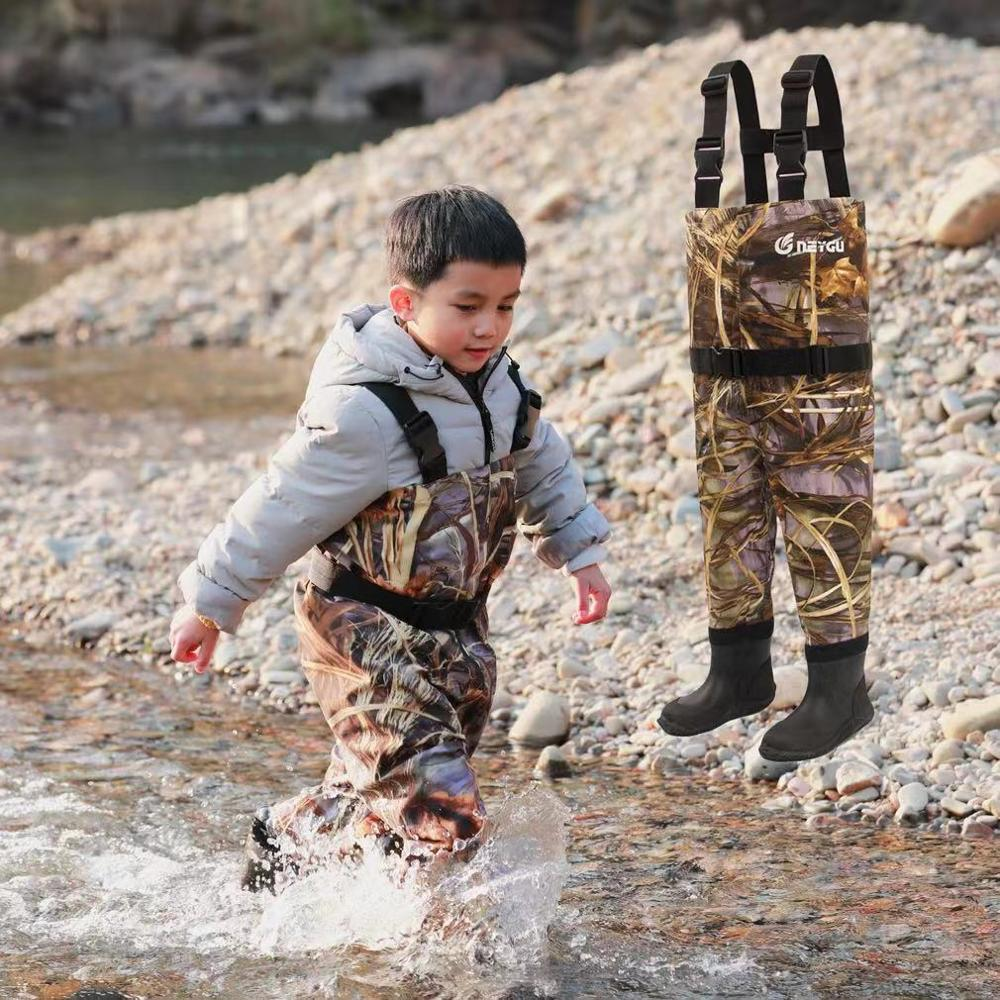 NEYGU kids waterproof & windproof wader suit for water sports with Adjustable Shoulder Strap&Rubber anti   Slip boots 3T 11T-in Surfing & Beach Shorts from Sports & Entertainment    1
