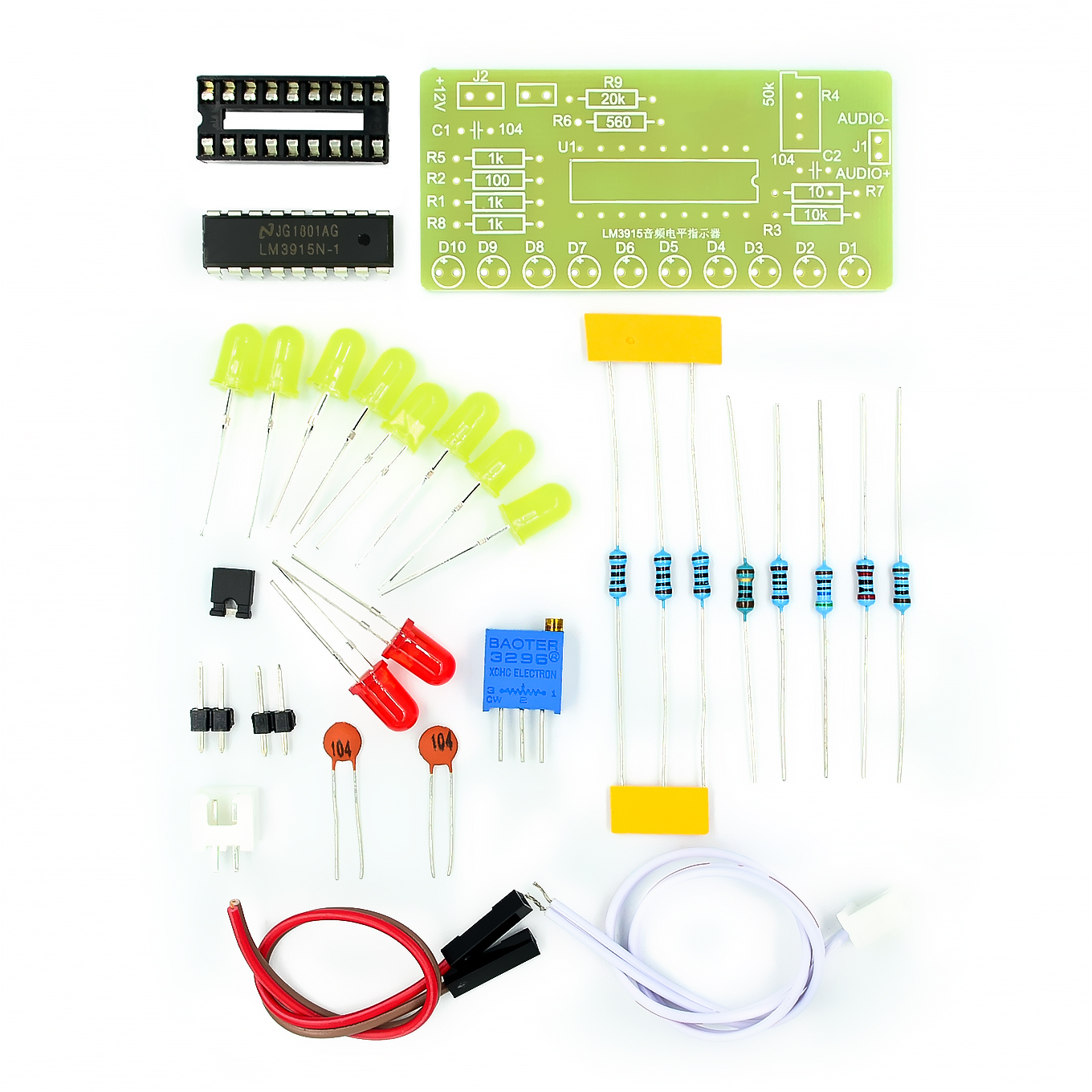 <font><b>LM3915</b></font> 10 LED Sound Audio Spektrum Analysator Ebene Anzeige Kit DIY Electoronics Löten Praxis Set image