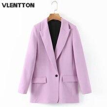 Женский пиджак с карманами модный однотонный фиолетового цвета