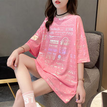 #0710 Orange Pink White Shiny T Shirt Women Loose Letter Print Long T-shirt Female Short Sleeve Casual Streetwear T-shirt Summer