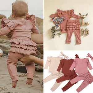 Image 2 - Newborn Baby Girl Clothes Autumn Infant Baby Clothes Outfits Knitted Bodysuit Top Romper Ruffle Pants Headband 3pcs Clothing Set
