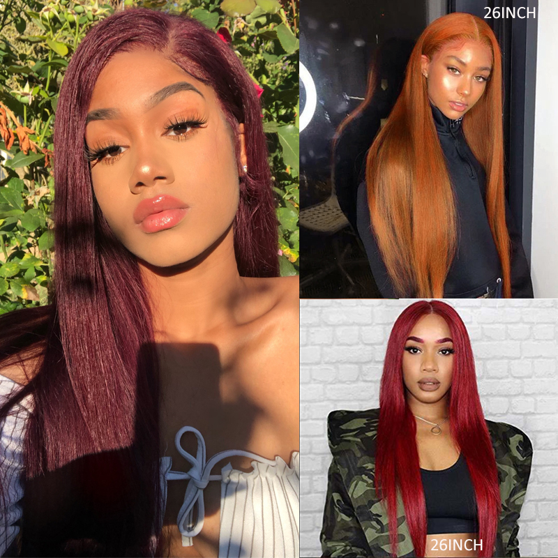 Brazilian 13x4 Lace Front Human Hair Wigs With Baby Hair Natural 613 Red Straight Lace Wigs Pre Plucked Remy Hair Wigs 150% KEMY