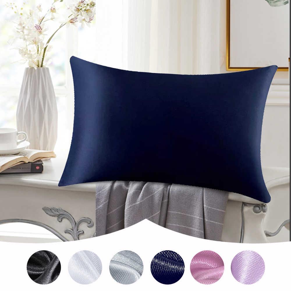 1 PC Single Sutra Murni Warna Sarung Bantal Berbentuk Persegi Nyaman untuk Tidur Kamar Tidur Bantal Lembut Covers48cmx74cm