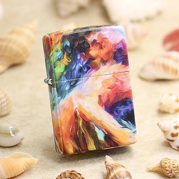 Genuine Zippo oil lighter copper windproof Coloured Flower Sea cigarette Kerosene lighters Gift With anti-counterfeiting code