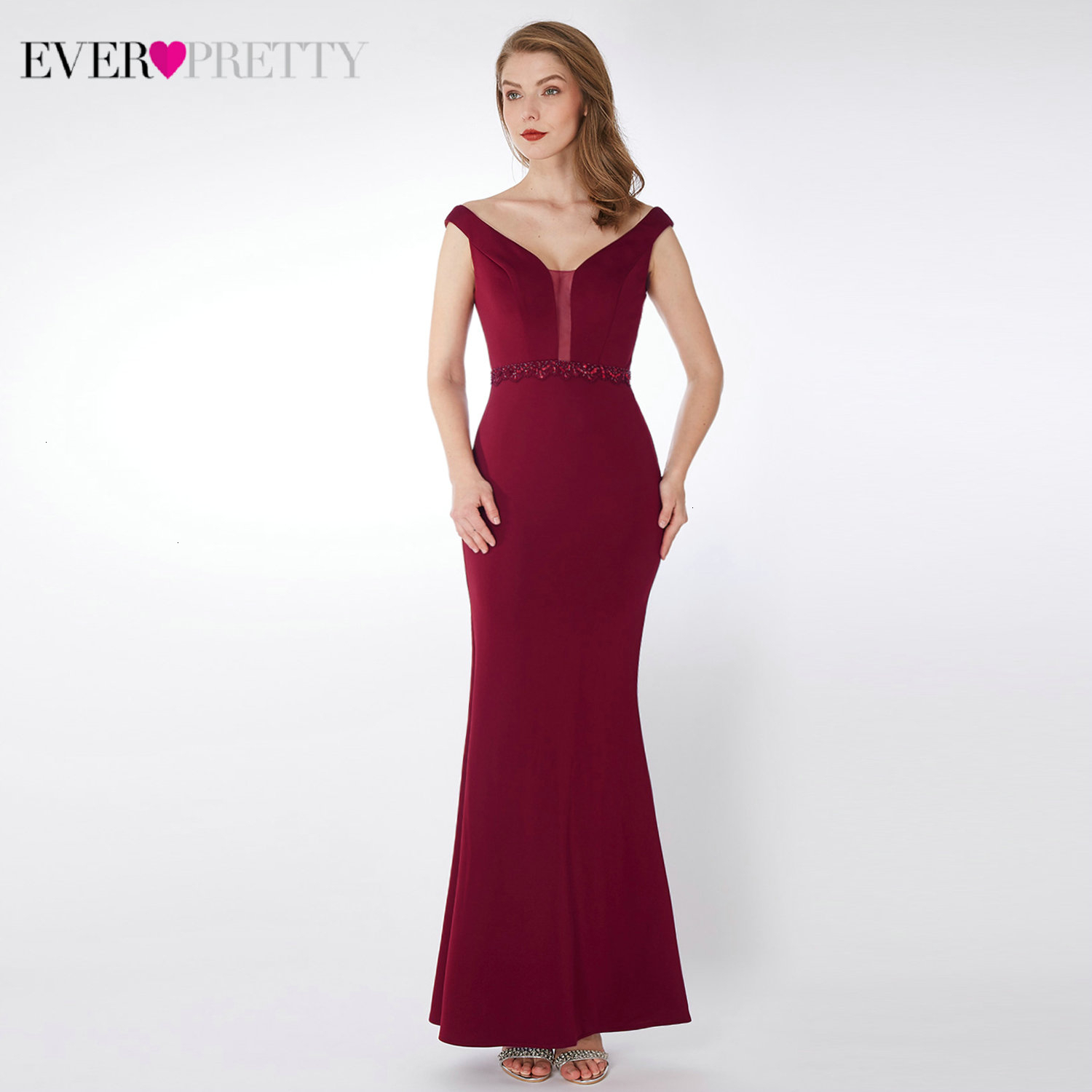Burgundy Mermaid Prom Dresses Ever Pretty Double V-Neck Beaded Sleeveless Elegant Evening Party Gowns Vestido Formatura 2019