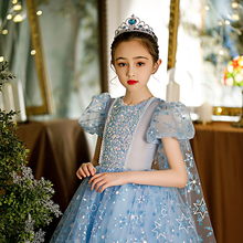 New Starts Lace Flower Girl Dresses Long Puffy Sleeves Tutu Birthday Party Dresses Show Dresses