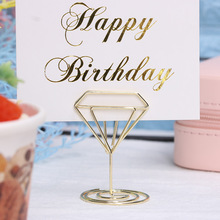 Place-Card-Holder Table-Number-Stand Photo-Clip Desktop-Decoration Metal Wedding Diamond