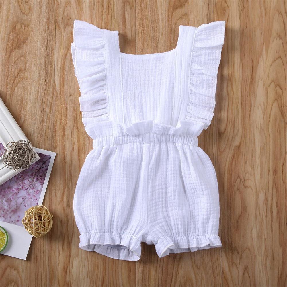Pudcoco Toddler Baby Girl Clothes Solid Color Sleeveless Ruffle Knitted Cotton Romper Jumpsuit One-Piece Outfit Sunsuit Clothes