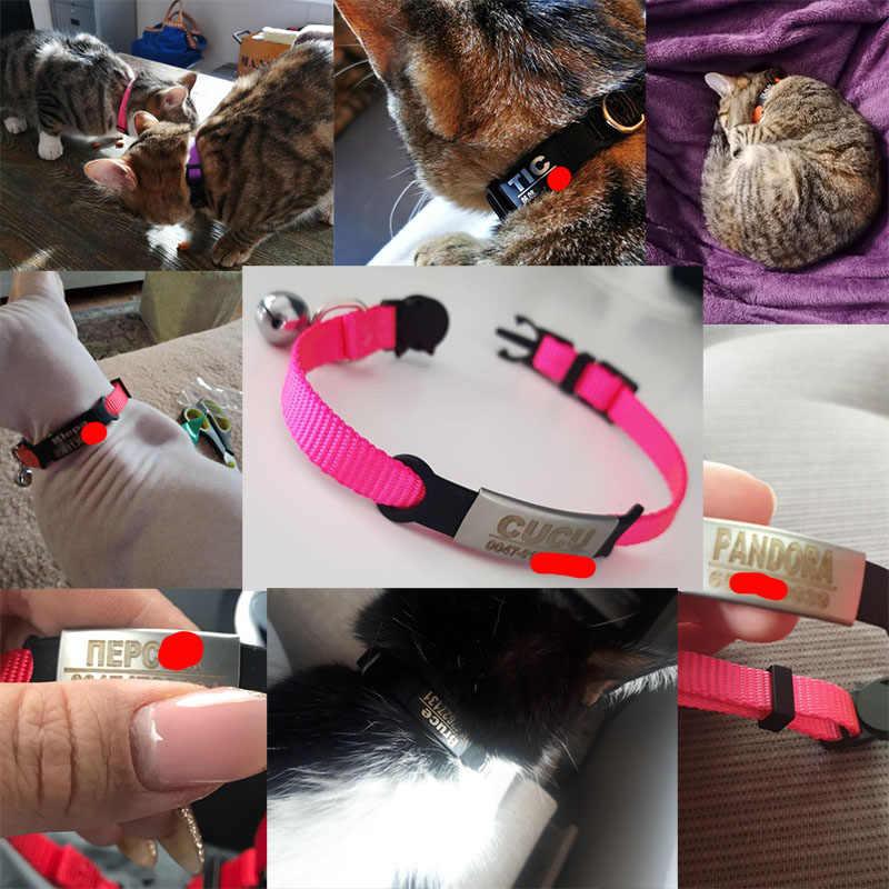 Personalisierte ID Kostenloser Gravur Katze Kragen Sicherheit Abtrünnigen Kleine Hund Nette Nylon Einstellbar für Welpen Kätzchen Halskette