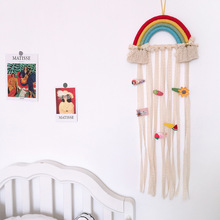 Rainbow Unicorn Wall Hanging Decor Photography Prop Hair Bows Storage Belt For Girls Hair Clips Orga