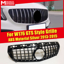 Fits For MercedesMB A-Class W176 Grille GTS Style Front ABS Material Silver Without Emblem A180 A200 A250 A260 2013-2015