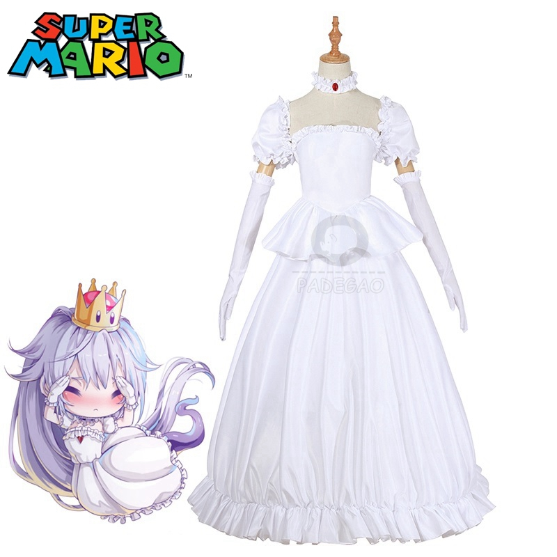 Super Mario Boosette Cosplay Costume Bowsette Princess Koopa White Costume Women Long Dress Ball Gown Retro Medieval Dress