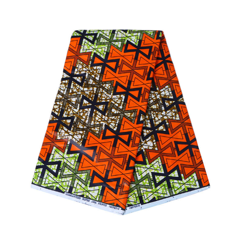 2019 Newest Arrivals African Orange 100% Cotton Print Wax Fabric Real Wax 6Yard