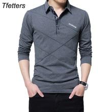 TFETTERS Brand T Shirt Men Long T-shirt Turn-down Stripe Designer T-shirt Slim Fit Loose Casual Cotton T Shirt Male Plus Size
