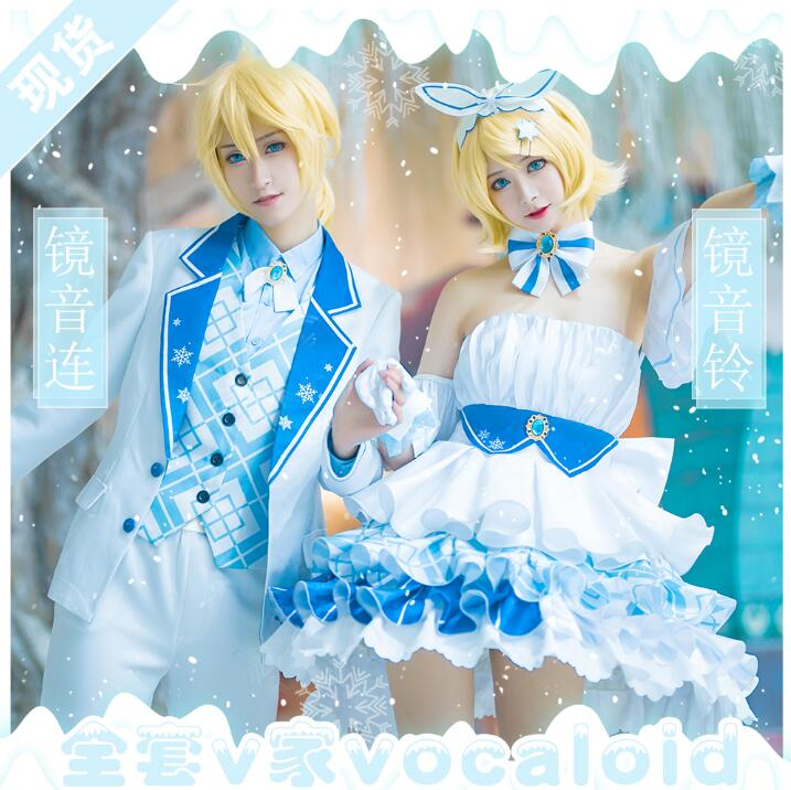 Halloween Costume for Woman <font><b>VOCALOID</b></font> <font><b>Kagamine</b></font> <font><b>Rin</b></font> Len Snow Hatsune Miku 10th Anniversary Cosplay Costume Beautiful Woman Dress image