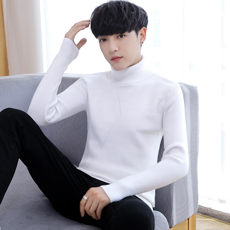 Men Sweater Winter White Black Grey Navy Blue Wine Red Long Sleeve Turtleneck Pullovers Casual Solid New Fashion Men Sweaters