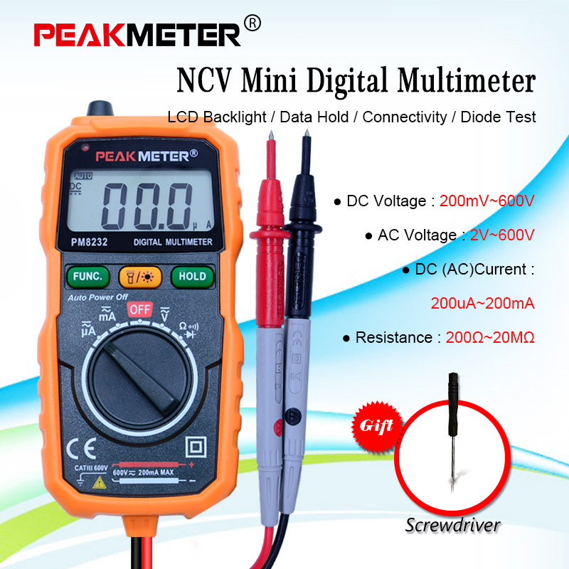 Contactloze mini digitale multimeter PEAKMETER MS8232 DC AC-spanningsstroomtester Ampèremeter multitester