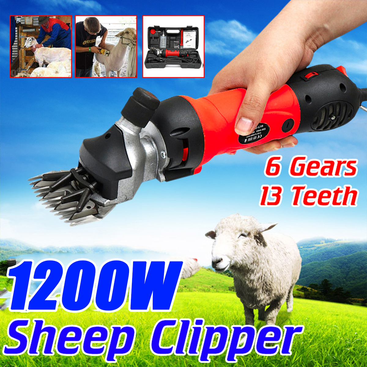 1200W 220V/220-240V 6 Gears Speed Electric Sheep Goat Shearing Machine Clipper Farm Shears Cutter Wool Scissor Cut Machine + Box