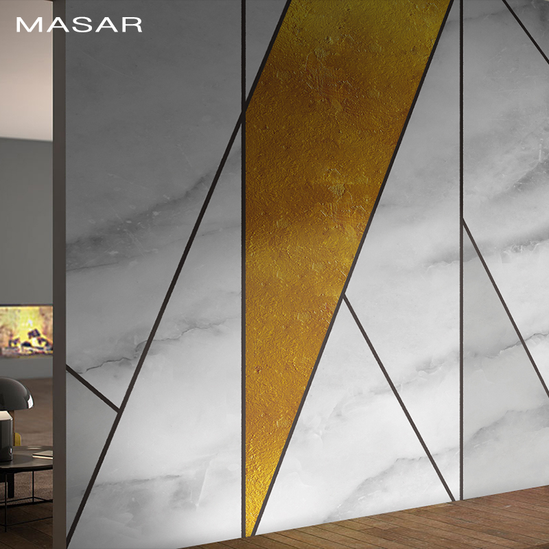 MASAR Simple Fashion Imitation Marble Mural Geometric Mosaic Wallpaper Living Room Background Wall Wallpaper Marble