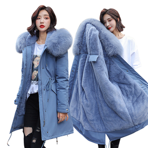 Image 1 - 冬パーカー & ジャケット2020新しい冬 30度女性ジャケットパーカーフード付き毛皮の襟厚いセクション暖かい冬女性ジャケット
