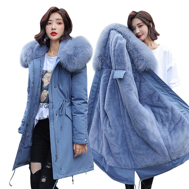 冬パーカー & ジャケット2020新しい冬 30度女性ジャケットパーカーフード付き毛皮の襟厚いセクション暖かい冬女性ジャケット