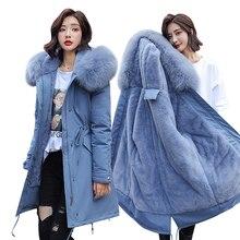 Parka e giacca invernali 2020 nuovo inverno giacca da donna a 30 gradi parka collo di pelliccia con cappuccio sezione spessa giacche da donna invernali calde