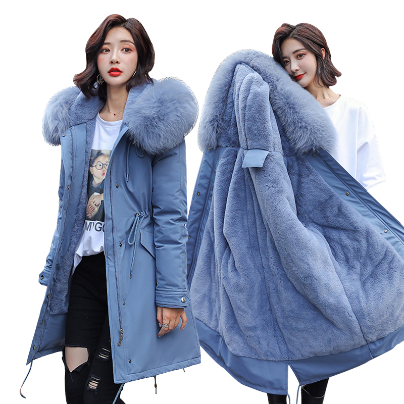 Winter Parkas 2019 winter -30 degree women's Parkas coats hooded fur collar thick section warm winter Jackets snow coat jacket(China)