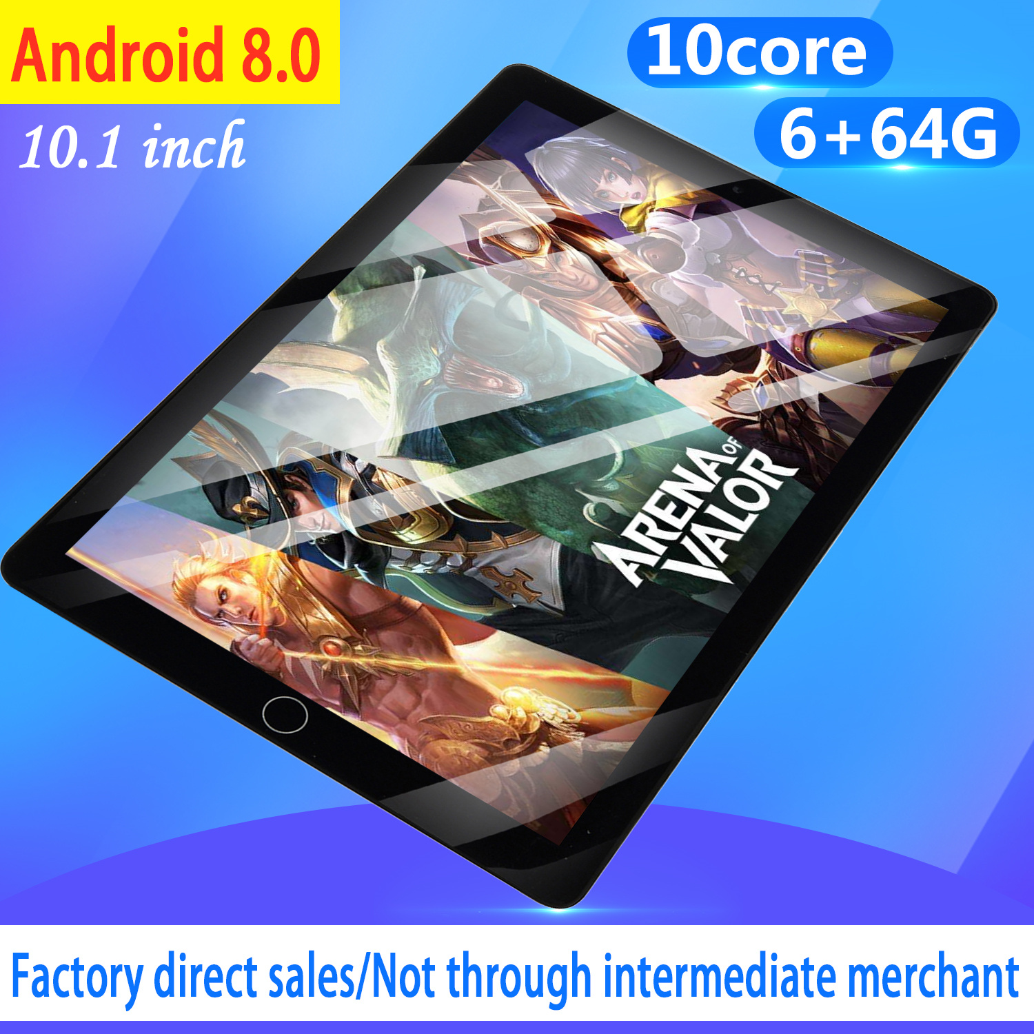 WiFi Tablet PC Screen 10 Inch Ten Core 6G+64G Android 8.0 Dual SIM Dual Camera Tablet GPS Phone Pad