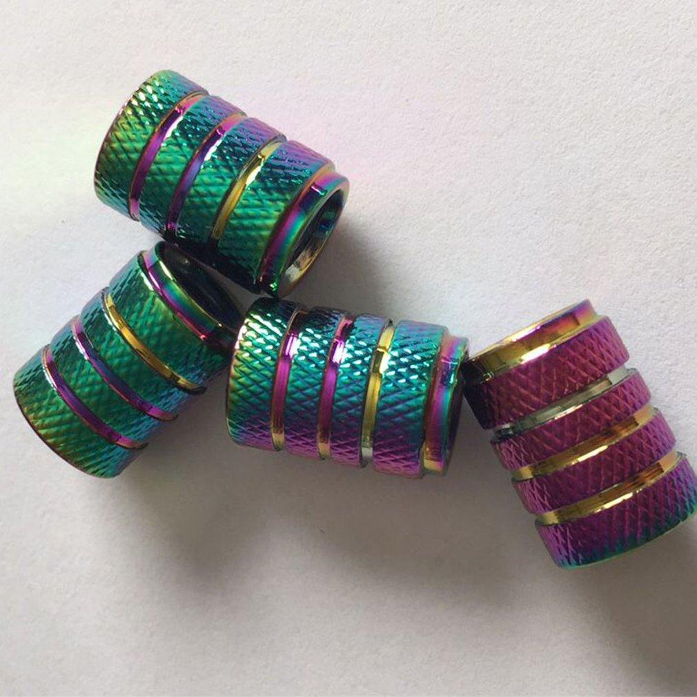 4pcs Rainbow Color 3 Nut Style Aluminum Car Wheel Tire Valve Caps Covers Bike Motorcycle Car Tire Wheel Valve Cap Car Styling