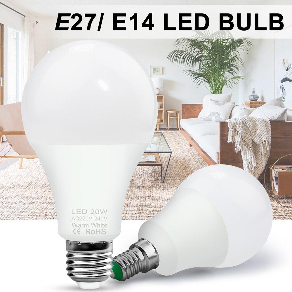 E27 LED Lamp 220V Bombilla LED E14 Bulb 3W 6W 9W 12W 15W 18W 20W LED Bulb Spot Light Indoor Spotlight Table Lamp 240V SMD 2835
