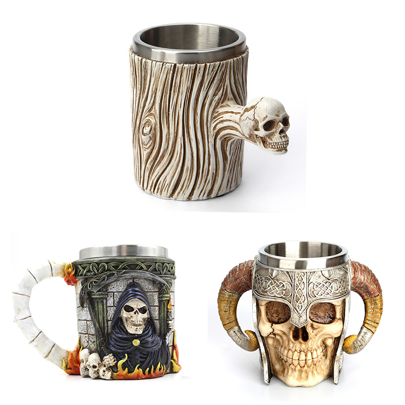 600ml Stainless Steel Skull Mug Viking Drinking Cup Skeleton Resin Beer Stein Tankard Coffee Mug Tea Cup Halloween Bar Drinkware