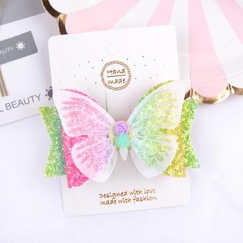 3,5 дюймов бабочка мультфильм блестящий кожаный цветок банты с зажимами для детей девочек ручной работы шпильки для волос Детские аксессуары для волос|Аксессуары для волос для девочек|   | АлиЭкспресс
