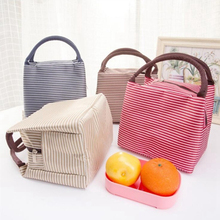 Lunch Bags Insulated Cold Canvas Stripe Picnic Carry Case Thermal Portable Lunch Bag For Women Kids