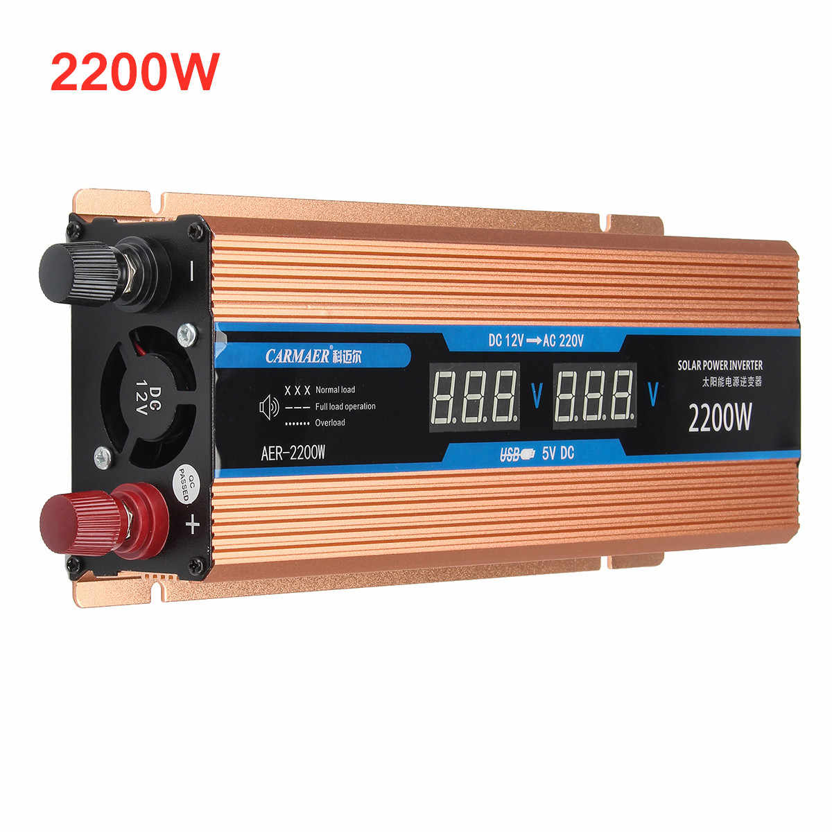 Inverter 500/1200/2200W DC 12V/AC 220V LCD Display Voltage Transformer Pure Sine Wave Power Inverter Smart Double Car Power