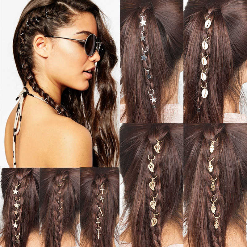 5 Pcs/Tas Fashion Bulang Twist Braid DIY Daun Bintang Shell Kepribadian Jepit Rambut Rambut Gantung untuk Anak Perempuan Wanita Koin Ornamen
