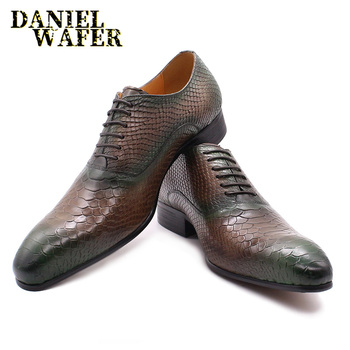 LUXURY MEN LEATHER SHOES SNAKE SKIN PRINTS MEN DRESS CLASSIC STYLE MIX COLOR LACE UP POINTED TOE BUCKLE STRAP MEN OXFORD SHOES