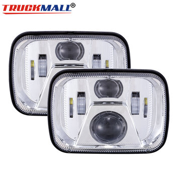 5x7 6x7inch LED Chrome Truck Headlights Square Projector Headlamp For Jeep Cherokee XJ 1984 to 2001 Wrangler YJ 1987 to 1995