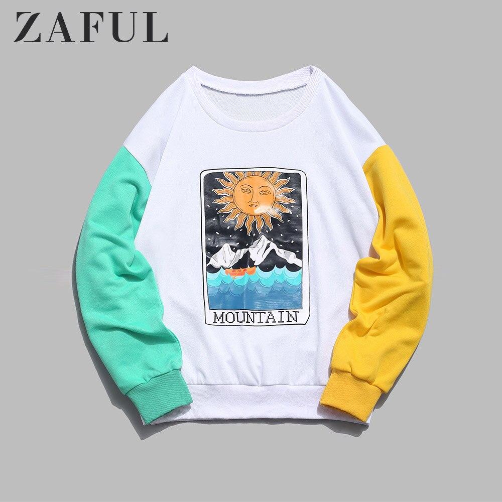 ZAFUL Cartoon Sun Mountain Graphic Splicing Sweatshirt Women Long Sleeve Color Block Outwear 2019 Vintage Tops Autumn