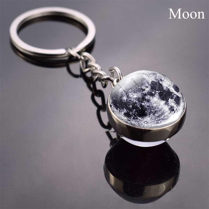 Luna piena Sfera di Vetro Sfera di Cristallo portachiavi Fatti A Mano Doppio Lato Pendente della Sfera di Vetro Solare Sistema Galaxy Astronomia Dei Monili